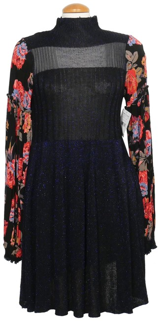 Item - Black Multi Rose Shine Sweater Knit Floral Sleeves Fit Flare Short Casual Dress Size 10 (M)