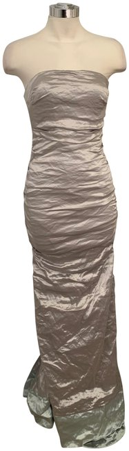 Item - / Light Blue Strapless Stretch Metal Gown Style Cq0027 Long Formal Dress Size 4 (S)