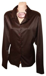 Essentials Boutique Sateen Polyester Top Dark Brown