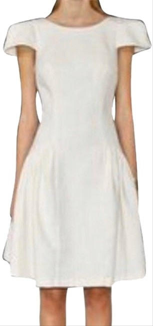 Item - White Cap Sleeve Mid-length Cocktail Dress Size 4 (S)