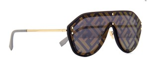 Fendi Fendi Gold / Brown M0039/G/S Aviator Shield Mirrored Logo Kardashian
