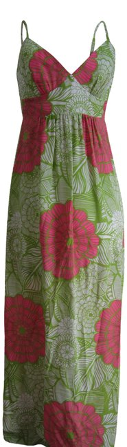 Item - Pink and Lime Floral Print Sleeveless Long Casual Maxi Dress Size 6 (S)