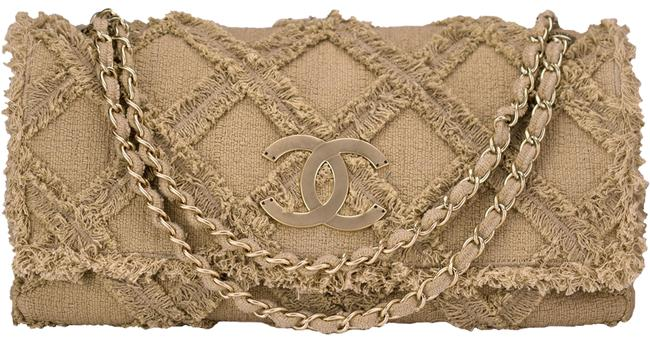 Chanel with Top Handle XL Soldout Nature Crochet Limited Edition Flap Beige Oganic Tweed Shoulder Bag Chanel with Top Handle XL Soldout Nature Crochet Limited Edition Flap Beige Oganic Tweed Shoulder Bag Image 1