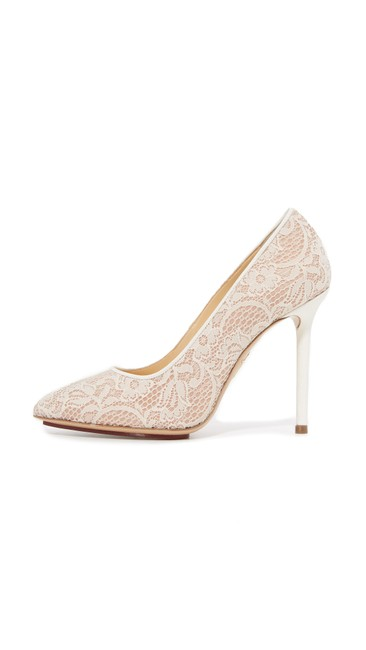 Item - White Nude Lace Monroe Pointed Toe Heels Pumps Size US 7 Regular (M, B)