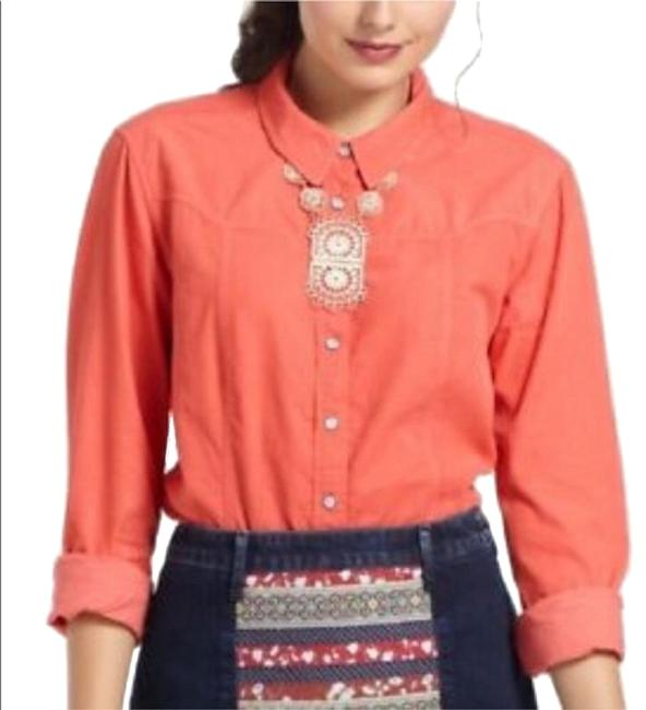 Item - Coral Holding Horses Fine Corduroy Pearl Snap Western Button-up Shirt Button-down Top Size 6 (S)
