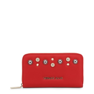 Versace Jeans Collection New Versace Jeans Red Faux Leather Zip Around Continental Wallet