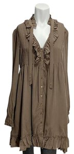 Joie short dress Brown Silk Ruffle Pleated Frock Loose on Tradesy