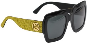Gucci NEW GUCCI GG0102S BLACK/GOLD (002) WITH GREY LENSES