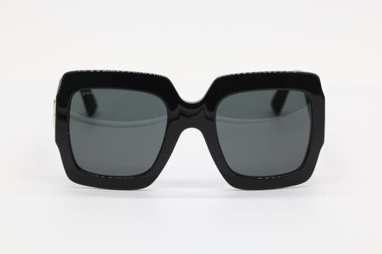 Gucci NEW GUCCI GG0102S BLACK/GOLD (002) WITH GREY LENSES Image 1