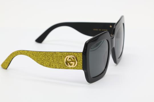 Gucci NEW GUCCI GG0102S BLACK/GOLD (002) WITH GREY LENSES Image 2