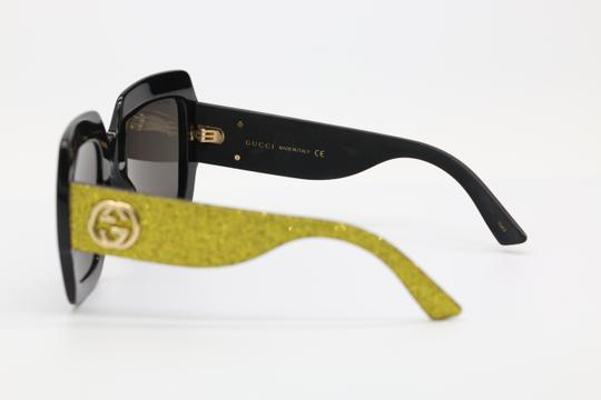 Gucci NEW GUCCI GG0102S BLACK/GOLD (002) WITH GREY LENSES Image 4