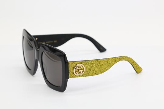 Gucci NEW GUCCI GG0102S BLACK/GOLD (002) WITH GREY LENSES Image 5