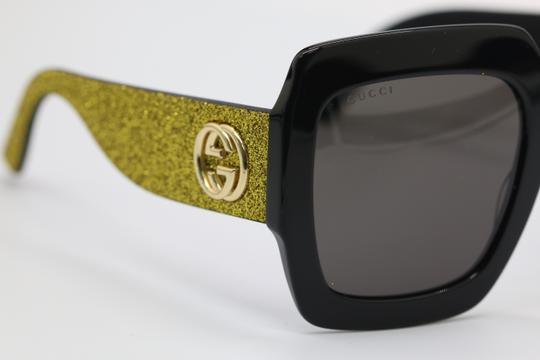 Gucci NEW GUCCI GG0102S BLACK/GOLD (002) WITH GREY LENSES Image 7