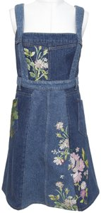 Alexander McQueen short dress Blue Jean Denim Floral Embroidery Sleeveless on Tradesy
