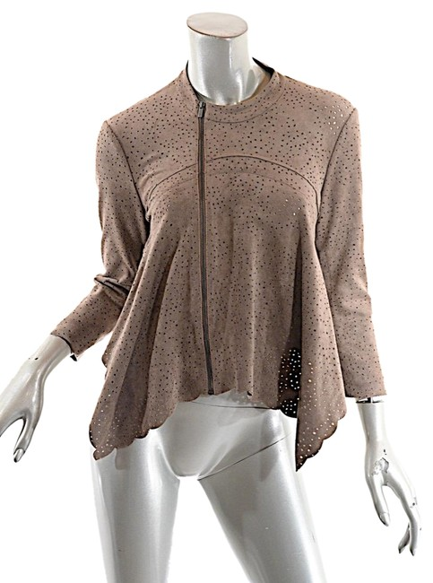 Item - Brown Bcbg Max Azria Mocha Poly Blend Faux Suede Perforated Asymmetric Zip Cardigan Size 6 (S)