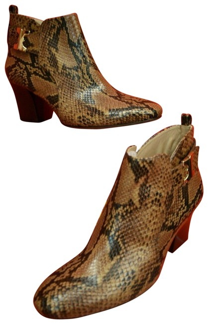 Item - Brown Gemini Link 70 Faded Coffee Python Print Gold Reva Ankle Boots/Booties Size US 10.5 Regular (M, B)