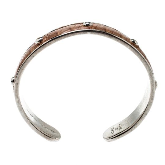 Tod's Brown Embossed Leather Silver Tone Studded Narrow Cuff Image 1