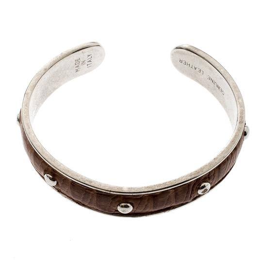 Tod's Brown Embossed Leather Silver Tone Studded Narrow Cuff Image 2