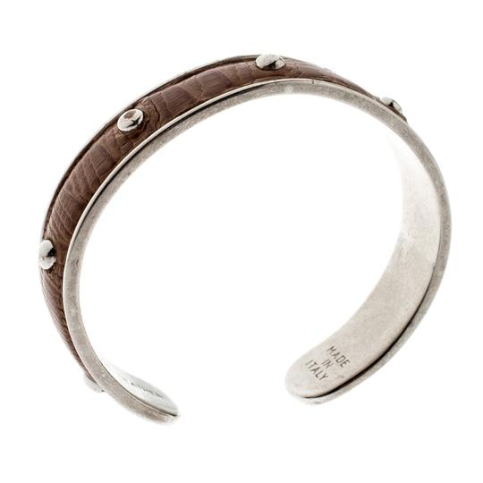Tod's Brown Embossed Leather Silver Tone Studded Narrow Cuff Image 3