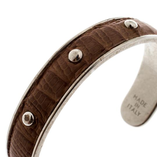 Tod's Brown Embossed Leather Silver Tone Studded Narrow Cuff Image 4