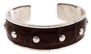 Tod's Dark Brown Embossed Leather Studded Silver Tone Narrow Cuff Bracelet