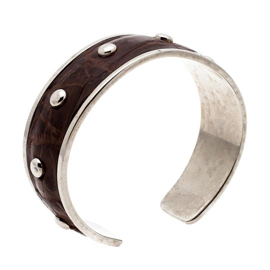 Tod's Dark Brown Embossed Leather Studded Silver Tone Narrow Cuff Bracelet Image 1
