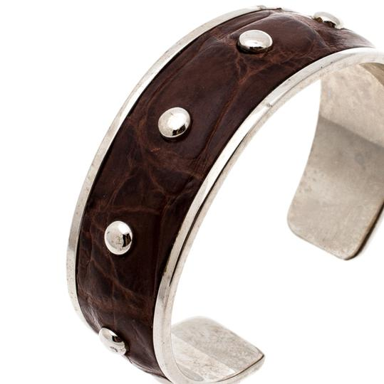 Tod's Dark Brown Embossed Leather Studded Silver Tone Narrow Cuff Bracelet Image 2