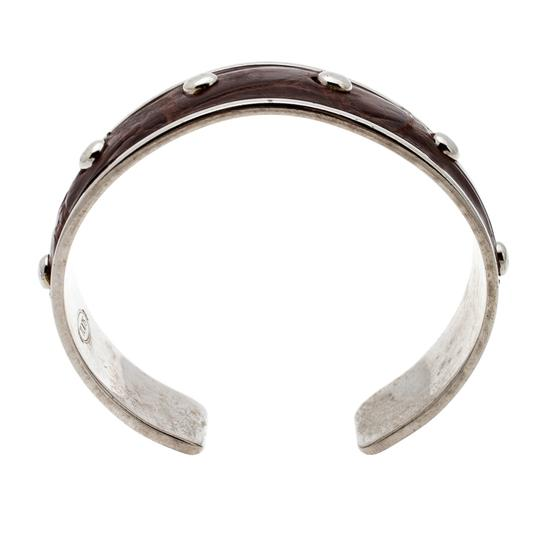 Tod's Dark Brown Embossed Leather Studded Silver Tone Narrow Cuff Bracelet Image 3