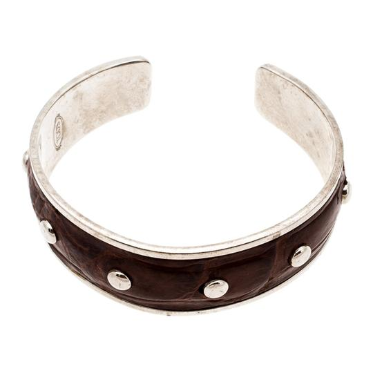 Tod's Dark Brown Embossed Leather Studded Silver Tone Narrow Cuff Bracelet Image 4