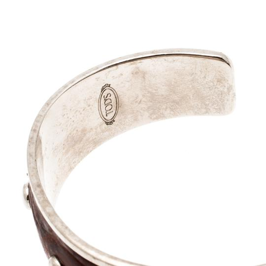 Tod's Dark Brown Embossed Leather Studded Silver Tone Narrow Cuff Bracelet Image 5
