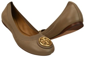 Tory Burch Ballet Logo Leather Leather Sole Gray Flats