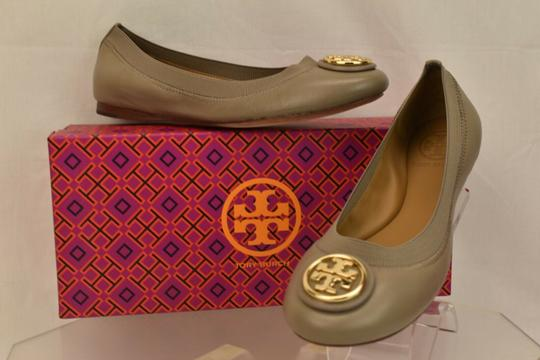 Tory Burch Ballet Logo Leather Leather Sole Gray Flats Image 1
