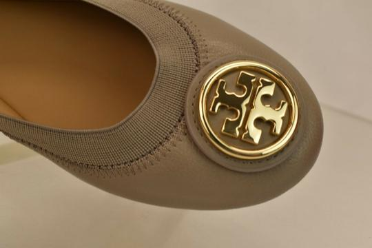 Tory Burch Ballet Logo Leather Leather Sole Gray Flats Image 10