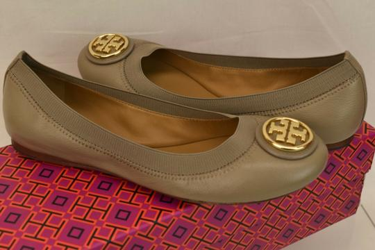 Tory Burch Ballet Logo Leather Leather Sole Gray Flats Image 3