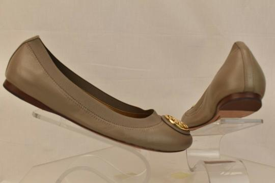 Tory Burch Ballet Logo Leather Leather Sole Gray Flats Image 4