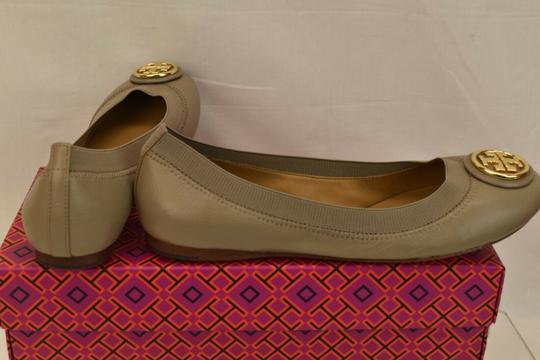 Tory Burch Ballet Logo Leather Leather Sole Gray Flats Image 5