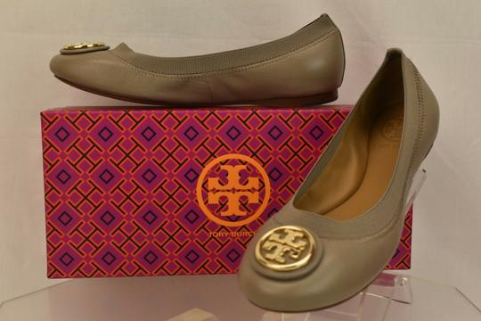 Tory Burch Ballet Logo Leather Leather Sole Gray Flats Image 6