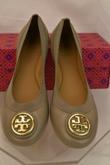 Tory Burch Ballet Logo Leather Leather Sole Gray Flats Image 7