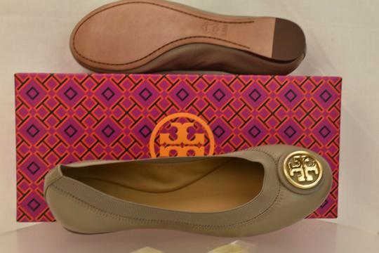 Tory Burch Ballet Logo Leather Leather Sole Gray Flats Image 8
