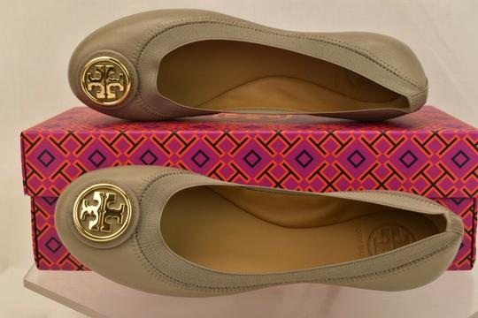 Tory Burch Ballet Logo Leather Leather Sole Gray Flats Image 9