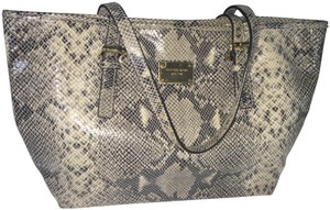 Michael Kors Computer Leather Totebag Gold Studded Tote in Grey Python Print