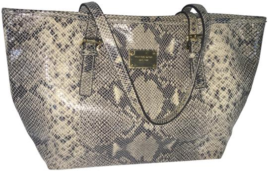 Michael Kors Computer Leather Totebag Gold Studded Tote in Grey Python Print Image 0