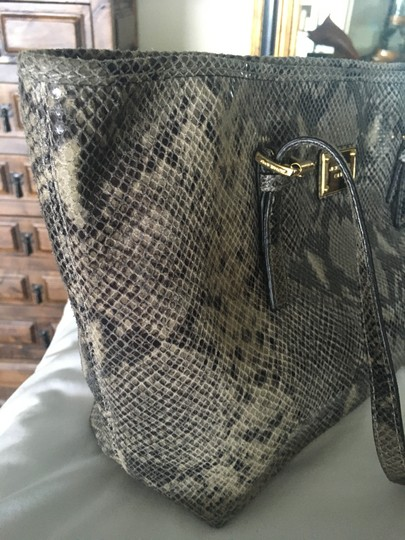 Michael Kors Computer Leather Totebag Gold Studded Tote in Grey Python Print Image 10