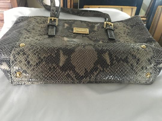 Michael Kors Computer Leather Totebag Gold Studded Tote in Grey Python Print Image 2