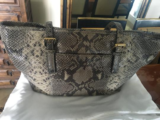 Michael Kors Computer Leather Totebag Gold Studded Tote in Grey Python Print Image 5