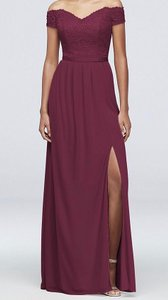 David's Bridal Wine Lace 2019 Season / Off The Shoulder - Tags Attached Formal Bridesmaid/Mob Dress Size 14 (L)