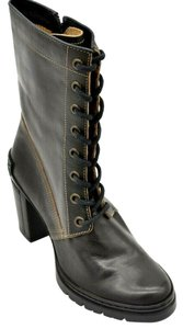 FLY London Calf High Lace Up Side Zipper Leather Brown Boots