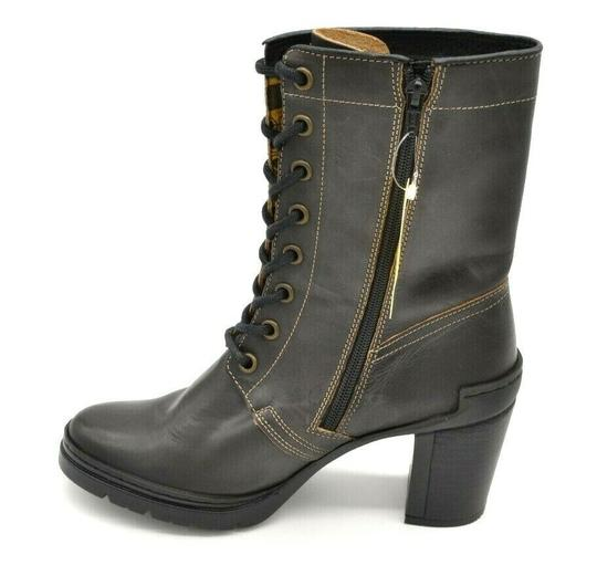 FLY London Calf High Lace Up Side Zipper Leather Brown Boots Image 1