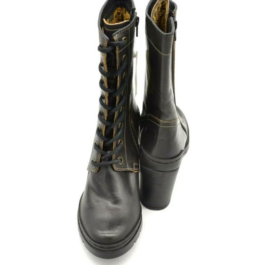 FLY London Calf High Lace Up Side Zipper Leather Brown Boots Image 2
