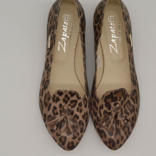 Zapato Panterka Leopard Tassels Leather Brown Flats Image 3